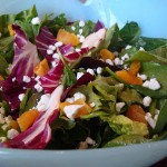 Radicchio, Spinach, Apricot Salad with Goat Cheese