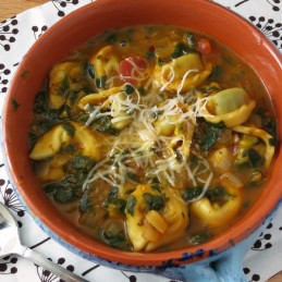 Tortellini Soup with Chunky Tomatoes and Spinach - made in less than 30 minutes!