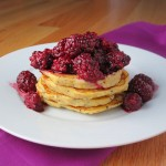Lemon Poppy Seed Ricotta Pancakes with Blackberry Sauce