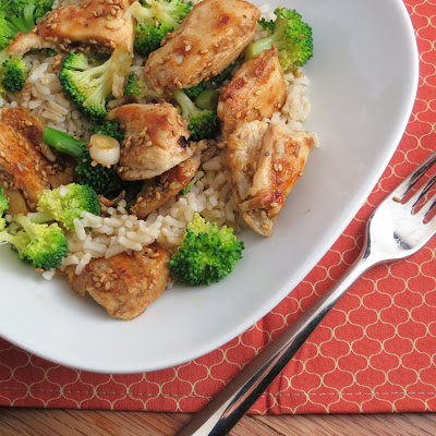 lighter healthy sesame chicken with broccoli and rice