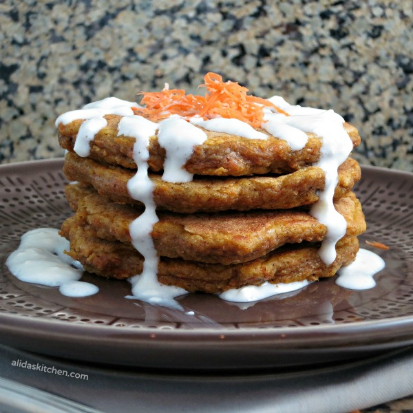 Carrot Cake Pancakes with Cream Cheese Drizzle | alidaskitchen.com #recipes #healthy #carrotcake #breakfast #Easter