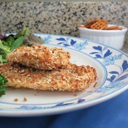 lighter healthy pretzel-crusted mustard chicken breast