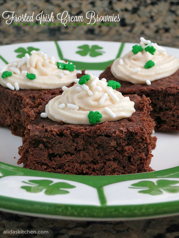 Frosted Irish Cream Brownies | alidaskitchen.com