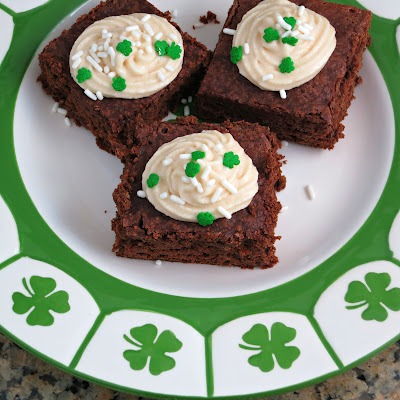st. patrick's day brownies made with irish cream and irish cream frosting
