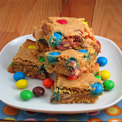 peanut butter M&Ms peanut butter blondies bars