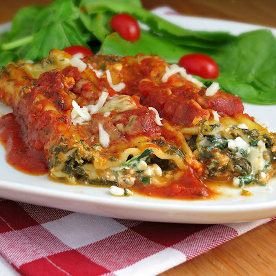 easy vegetarian spinach manicotti with no cook noodles
