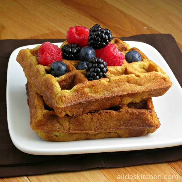 Sunbutter Waffles - whole wheat, buttermilk waffles made nut-free with sunflower seed butter.  Kids LOVE these!