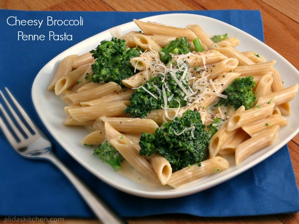 Cheesy  Broccoli Penne Pasta...made on the lighter side!  {Alida's Kitchen}