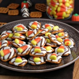 Candy Corn White Chocolate Pretzels