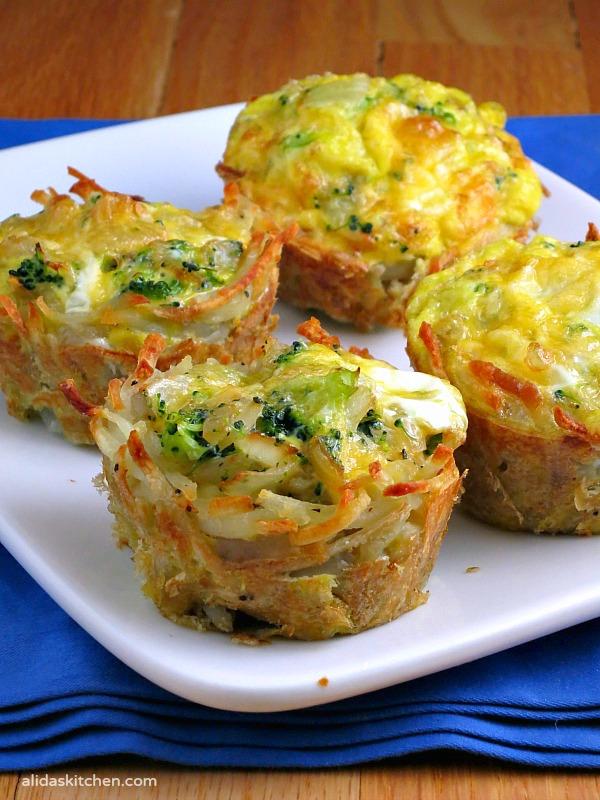 Broccoli Cheddar & Egg Hashbrowns Cups | alidaskitchen.com