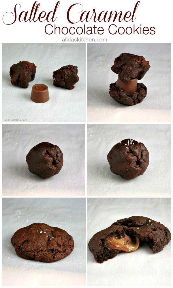 Salted Caramel Chocolate Cookies | alidaskitchen.com #recipes #cookies #SundaySupper