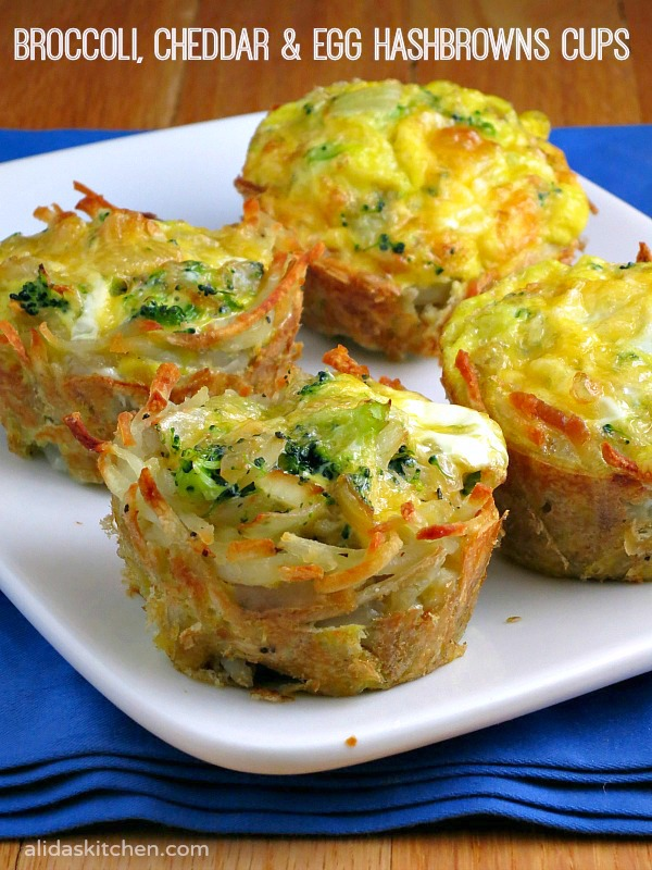 Broccoli Cheddar & Egg Hashbrowns Cups | alidaskitchen.com