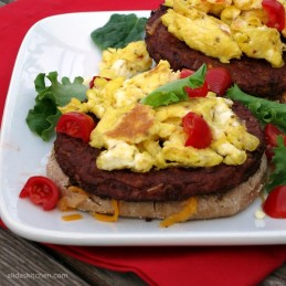 Spicy Black Bean Breakfast Burger   protein packed quick and easy healthy breakfast made in minutes!