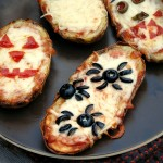 Halloween Baked Potato Skin Pizzas #SundaySupper