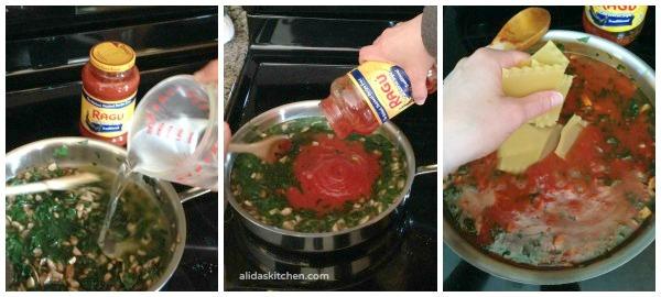 Spinach Mushroom Skillet Lasagna   alidaskitchen.com