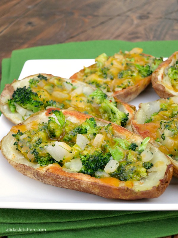 Broccoli Cheddar Stuffed Potato Skins | alidaskitchen.com