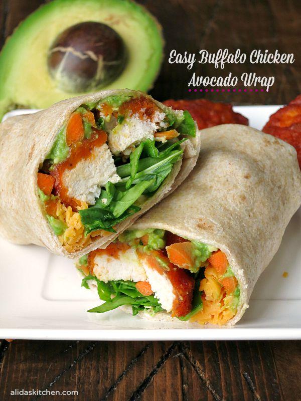 Easy Buffalo Chicken Avocado Wrap   alidaskitchen.com