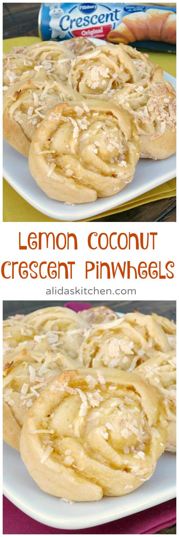 Lemon Coconut Crescent Pinwheels | alidaskitchen.com
