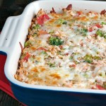 Cheesy Tomato Chicken Rice Bake