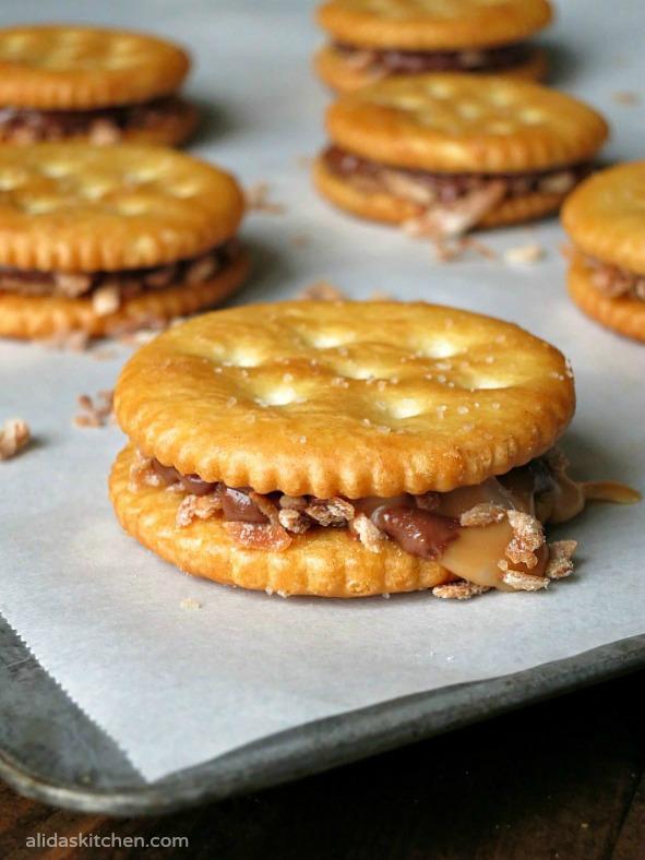 Chocolate Caramel Coconut RITZ Cookies | alidaskitchen.com