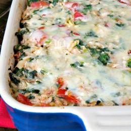 Spinach Artichoke Chiacken Rice Casserole | alidaskitchen.com