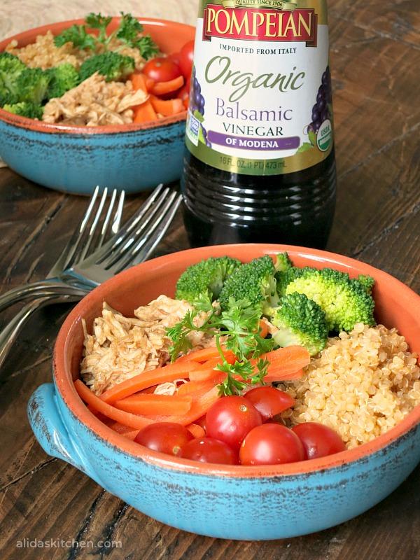 Honey Balsamic Chicken Quinoa Bowl | alidaskitchen.com